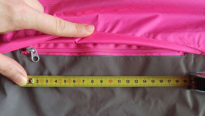 DImensions de la poche arrière
